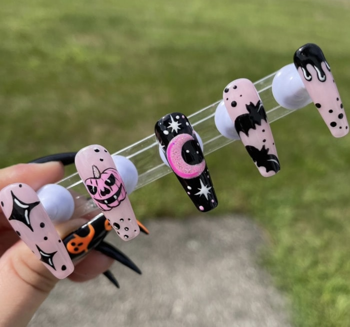 Halloween Nail Designs - spooky chic press ons