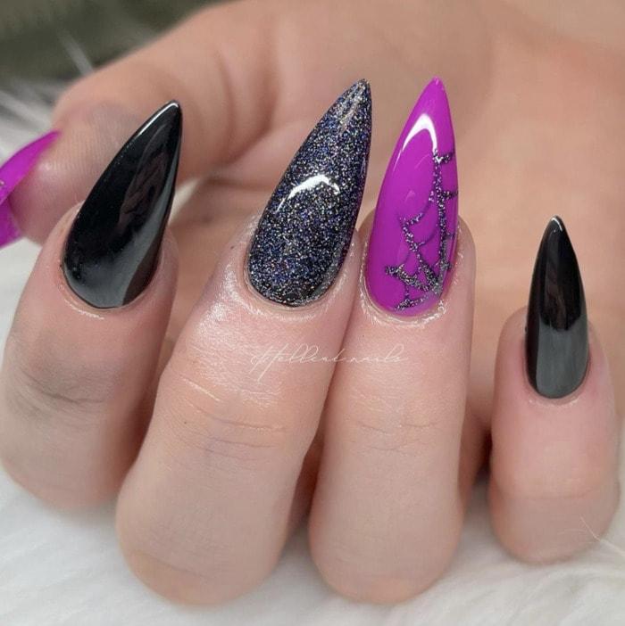 Halloween Nail Designs - purple spider web nails