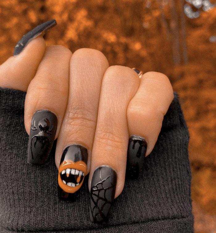Halloween Nail Designs - matte black coffin nails