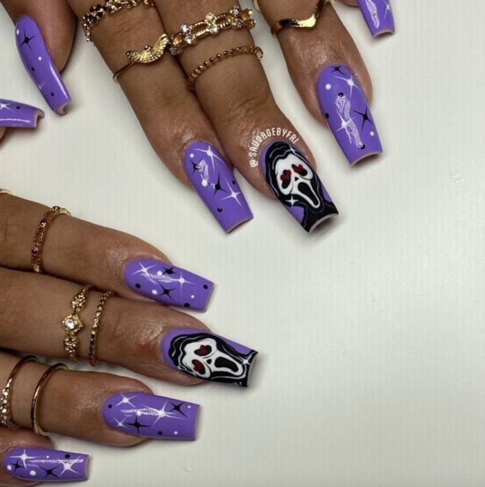 Halloween Nail Designs - purple scream nails