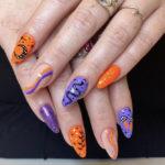 Halloween Nail Designs - purple and orange designs