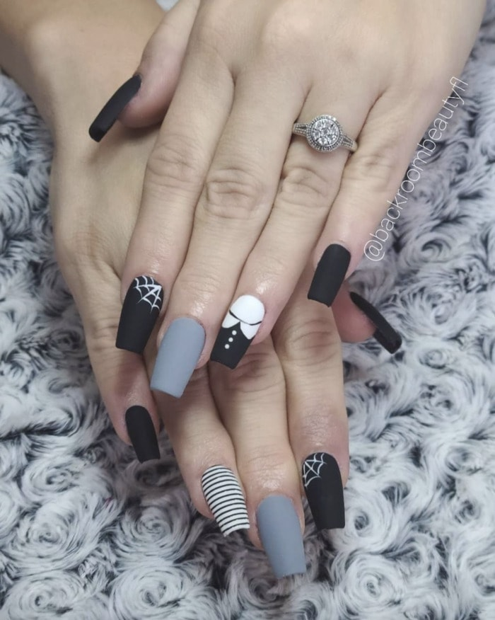 Halloween Nail Designs - Wednesday Addams