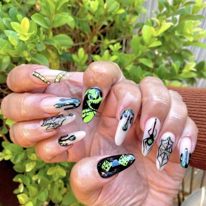Halloween Nail Designs - Oogie Boogie nail art