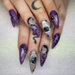 Halloween Nail Designs - witchy almond shaped