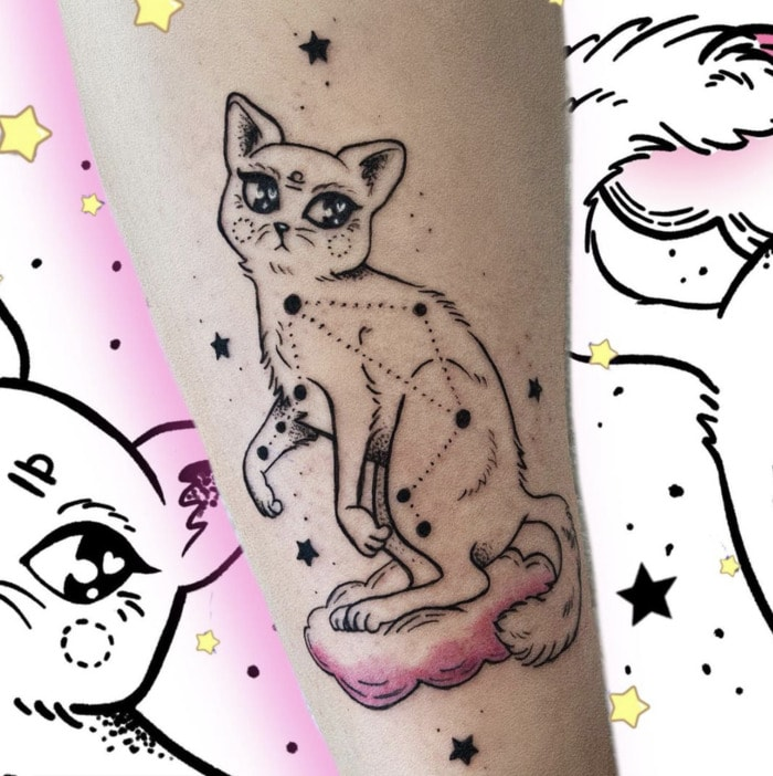 Libra Tattoo - constellation cat