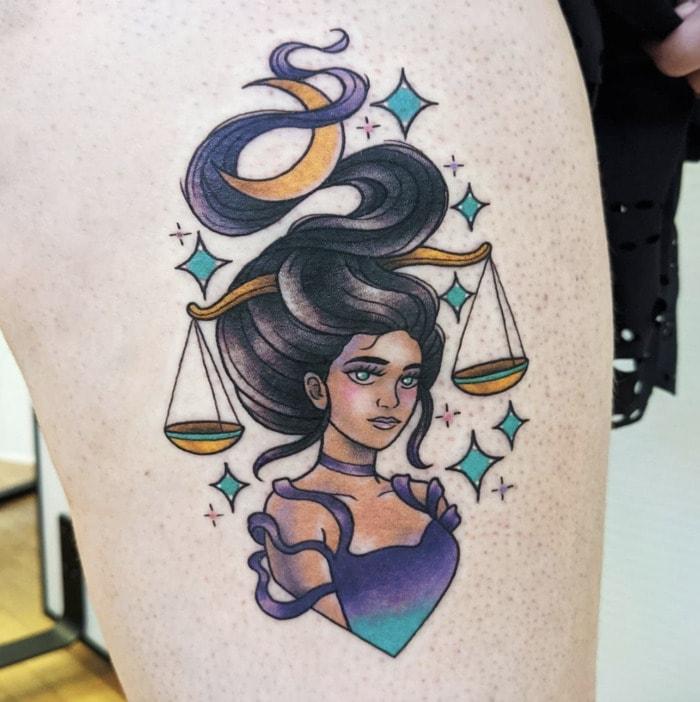Libra Tattoo - balanced scales in hair