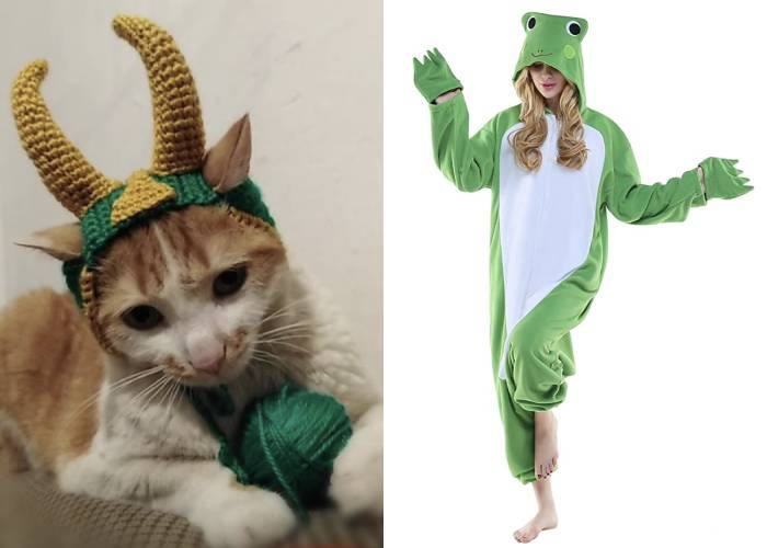 Cat Halloween Costumes - Loki and Frog Thor