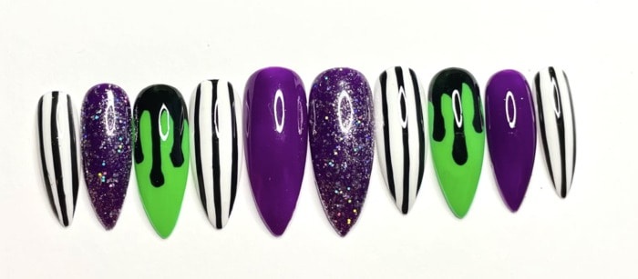 Beetlejuice Nails - Press-on striped pointy nails