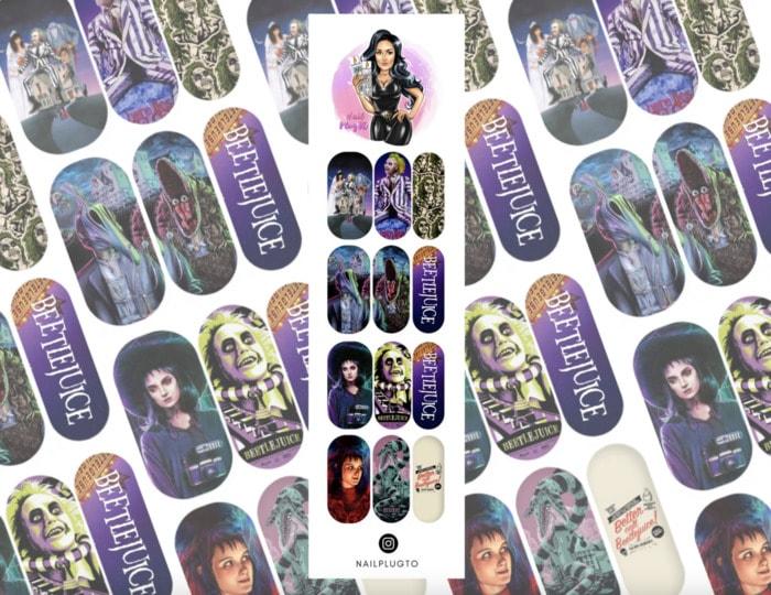 Beetlejuice Nails - Press-on movie stickers