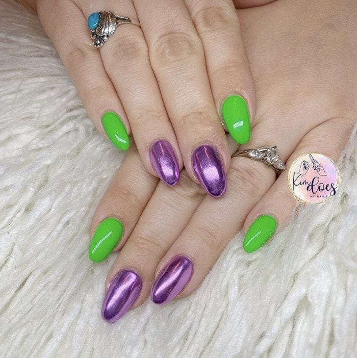 Beetlejuice Nails - green and purple