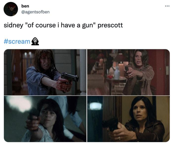 Scream Trailer Easter Eggs - sydney prescott gun
