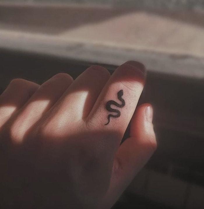 Small Tattoos - finger snake