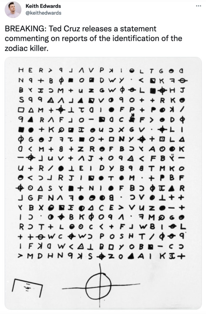 Zodiac Killer Tweets - Ted Cruz statement