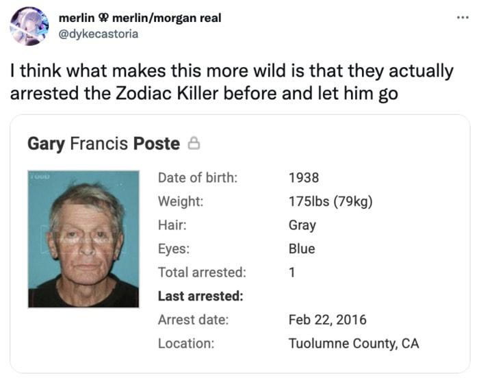 Zodiac Killer Tweets - arrested before